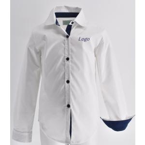 Блузка на девочку, белая с синими деталями